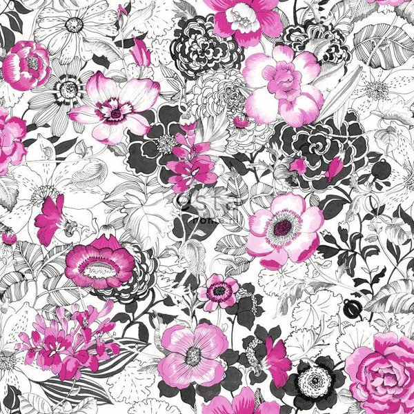 Brooklyn Bridge Bloemen Roze/zwart