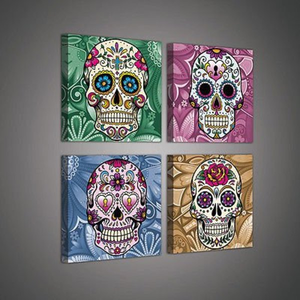 Dutch Wallcoverings Canvas set Skulls 2022S20
