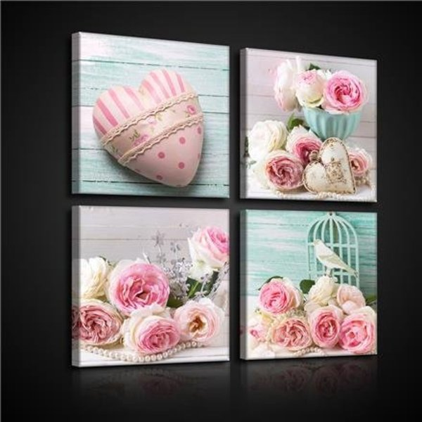 Dutch Wallcoverings Canvas set Roze Rozen 2573S20