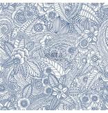 Esta Home Cabana Handgeschilderde bloemen blauw 148615