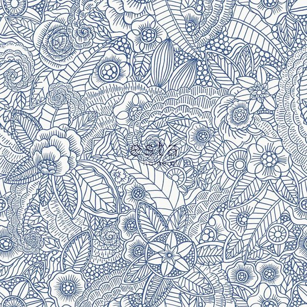 Cabana Handgeschilderde bloemen blauw