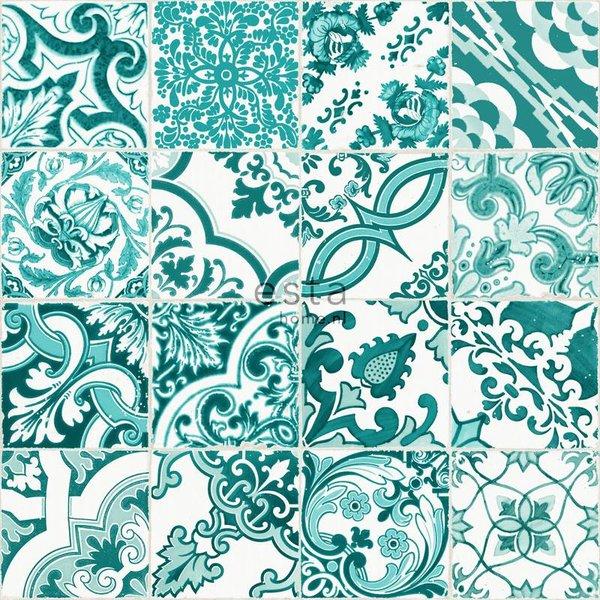 Cabana Tegeltjes print turquoise