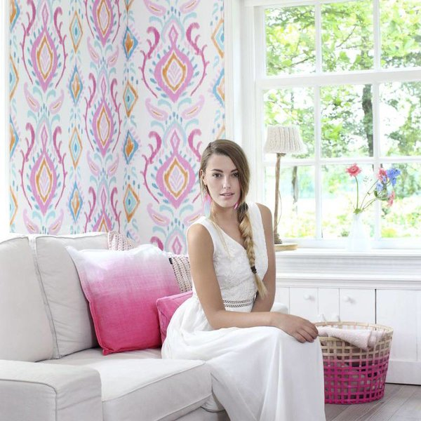 Cabana Barok print roze/turquoise