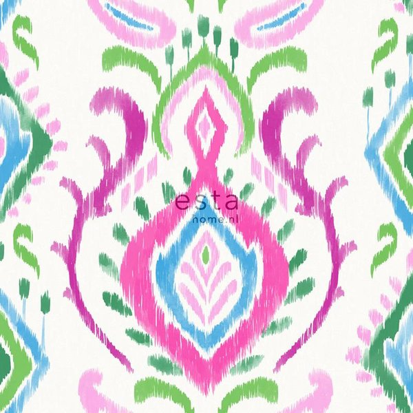 Esta Home Cabana Barok print groen/roze
