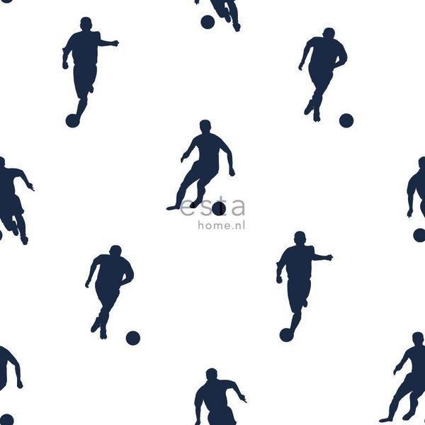College Voetbalspelers donkerblauw op wit