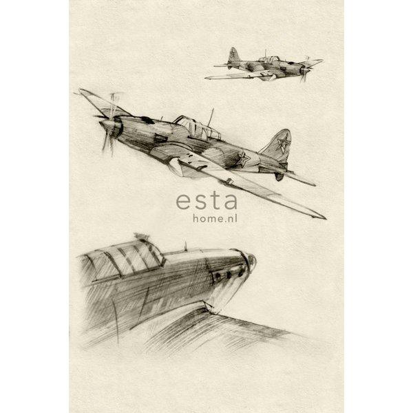 College PhotowallXL Getekende vliegtuigen