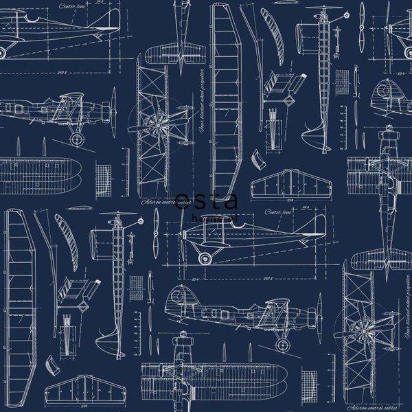College Constructietekening vliegtuig donkerblauw