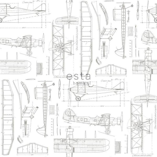 College Constructietekening vliegtuig wit