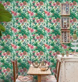 Dutch Wallcoverings Bontanical Bloemen wit, groen en roze BA2001