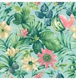 Dutch Wallcoverings Bontanical Bloemen blauw, groen en roze BA2002