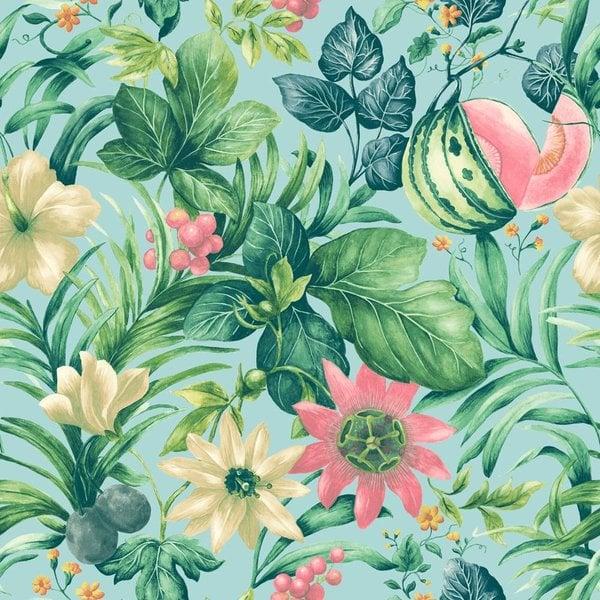 Dutch Wallcoverings Botanical Bloemen blauw, groen en roze