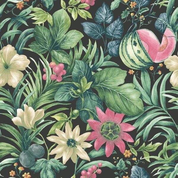 Botanical Bloemen zwart, groen en roze