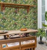 Dutch Wallcoverings Bontanical Papegaai groen/blauw BA2203