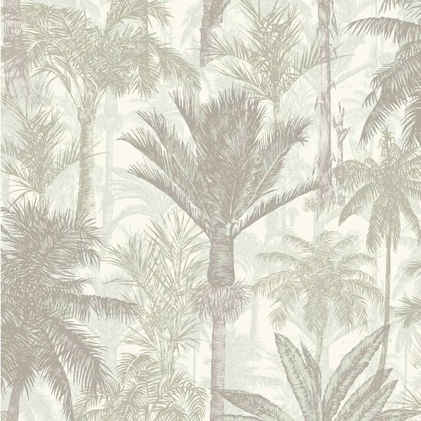 Dutch Wallcoverings Botanical Palmbomen grijs/wit