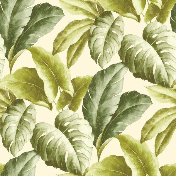 Dutch Wallcoverings Bontanical Bladeren groen/wit BA2401