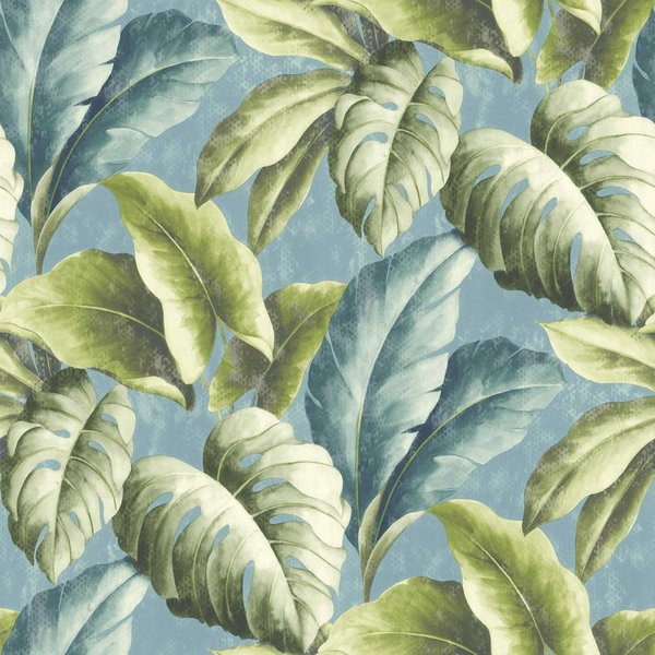 Dutch Wallcoverings Botanical Bladeren groen/blauw