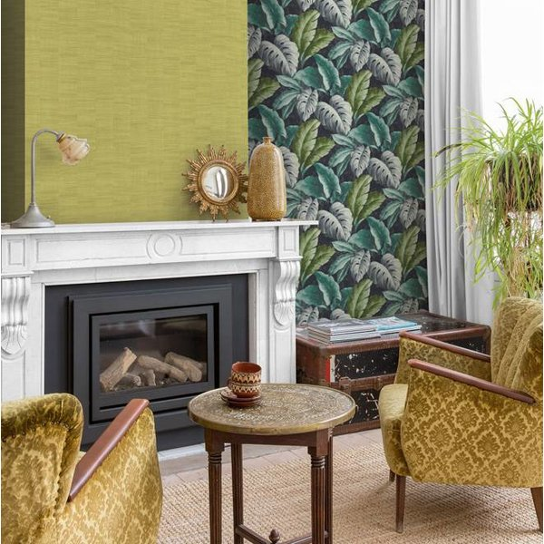 Dutch Wallcoverings Bontanical Bladeren donker blauw/groen BA2404