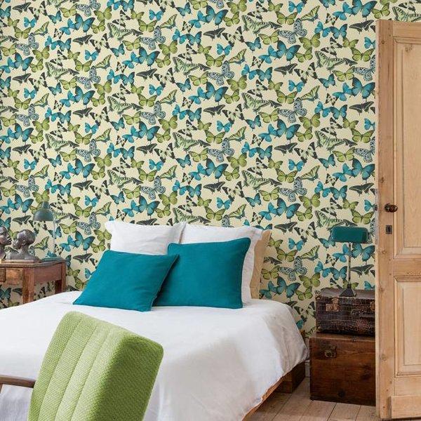 Dutch Wallcoverings Bontanical Vlinders beige/blauw/groen BA2602