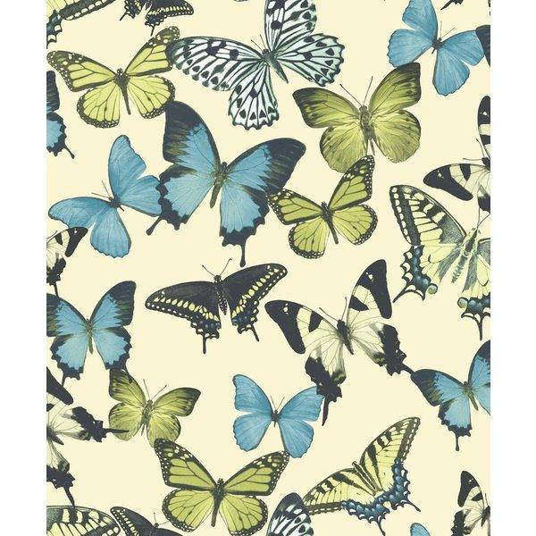 Botanical Vlinders beige/blauw/groen