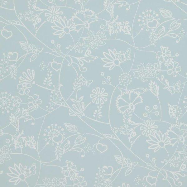 Voca Hej bloemen licht blauw 218174