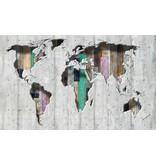 Dutch Wallcoverings Fotobehang Wereldkaart licht