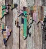 Dutch Wallcoverings Fotobehang Wereldkaart donker