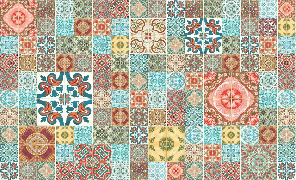 Fotobehang marokkaanse tegels oranje de behangwinkelier for Goedkoop glasvliesbehang