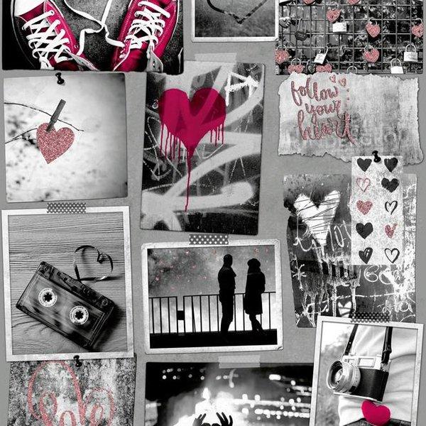 Dutch Wallcoverings Freestyle Fotomuur Love - Roze