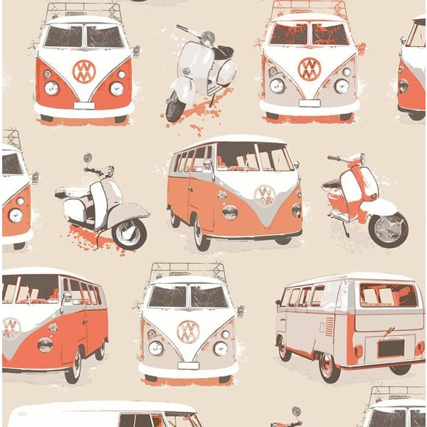 Dutch Wallcoverings Freestyle VW Bus en Scooter - Beige/oranje J059-15