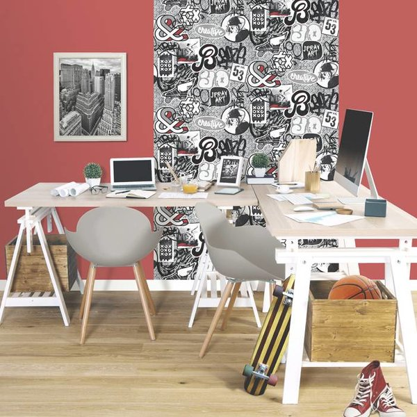 Dutch Wallcoverings Freestyle Skater - Zwart/grijs/rood L158-10