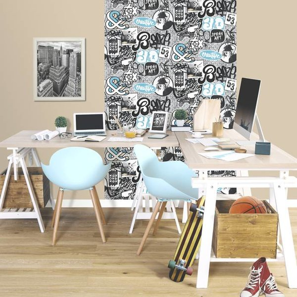 Dutch Wallcoverings Freestyle Skater - Zwart/grijs/blauw
