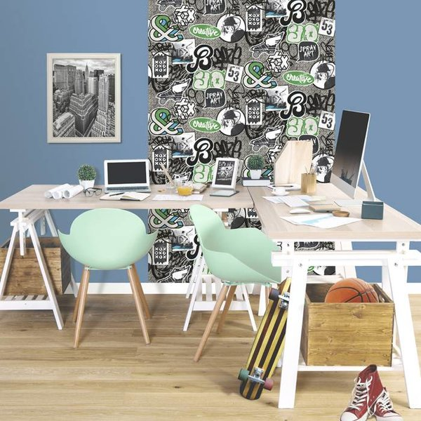 Dutch Wallcoverings Freestyle Skater - Zwart/grijs/groen L158-21