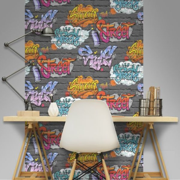 Dutch Wallcoverings Freestyle Baksteen Zwart Graffiti