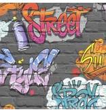 Dutch Wallcoverings Freestyle Baksteen Zwart Graffiti L179-01