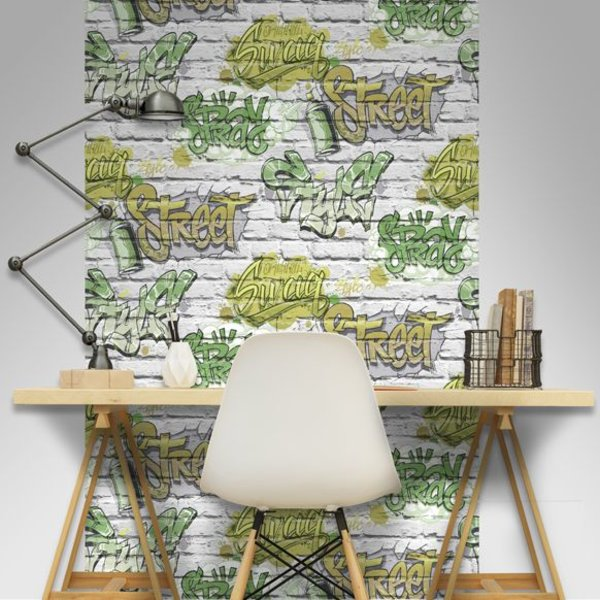 Dutch Wallcoverings Freestyle Baksteen Wit Graffiti Groen