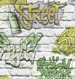 Dutch Wallcoverings Freestyle Baksteen Wit Graffiti Groen L179-04
