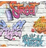 Dutch Wallcoverings Freestyle Baksteen Wit Graffiti Blauw/lila L179-05