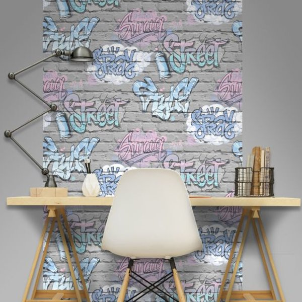 Dutch Wallcoverings Freestyle Baksteen Grijs Graffiti