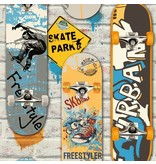 Dutch Wallcoverings Freestyle Skateboard - Grijs/geel/blauw L295-05