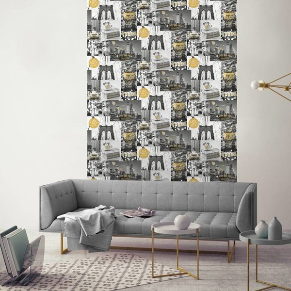 Dutch Wallcoverings Freestyle New York Collage - Grijs/goud L310-02