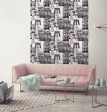 Dutch Wallcoverings Freestyle New York Collage - Grijs/roze L310-03