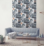Dutch Wallcoverings Freestyle New York Collage - Grijs/oranje L310-05