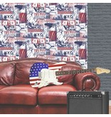 Dutch Wallcoverings Freestyle Amerika - Rood/wit/blauw L324-01