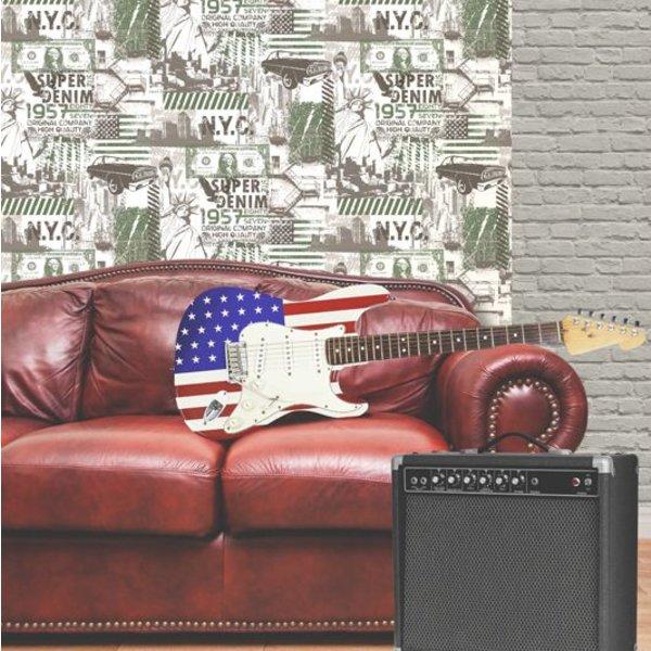 Dutch Wallcoverings Freestyle Amerika - Wit/groen