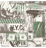 Dutch Wallcoverings Freestyle Amerika - Wit/groen L324-04