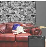 Dutch Wallcoverings Freestyle Amerika - Zilver/zwart L324-09