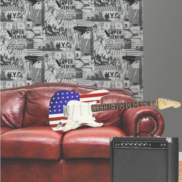 Dutch Wallcoverings Freestyle Amerika - Zilver/zwart