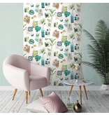 Dutch Wallcoverings Freestyle Tropical - Wit/turquoise L373-04