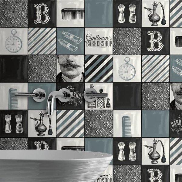 Dutch Wallcoverings Freestyle Berbershop - Zwart/wit