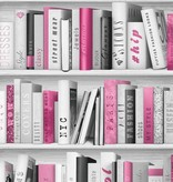 Dutch Wallcoverings Freestyle Boekenkast - Grijs/roze 139501